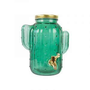 Distributeur en verre vert Mason Jar 'Cactus' -4l