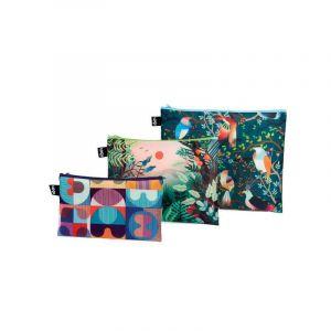 Lot 3 Zip Pockets Artist Hvass&Hannibal Grid, Arbaro, Bird