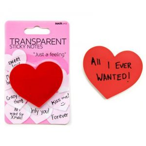 Bloc-notes repositionnable et transparent 'Coeur' (display 24pcs)