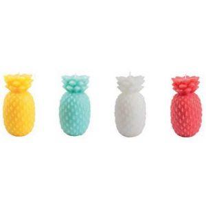 Bougies ananas petit modèle assortiment 4 couleurs