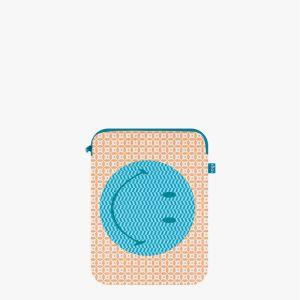 Housse Ordinateur 13 pouces SMILEY Tyvek Geometric (Smiley sur fond geométrique bleu)