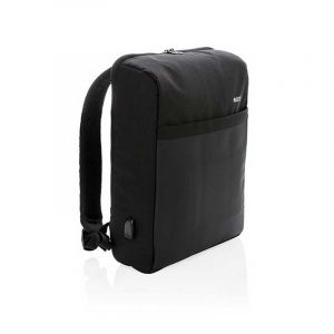 Swiss Peak 15'' anti-theft RFID & USB backpack PVC free, black