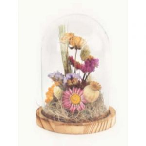 Bell jar glass with dried flowers bouquet small (12 x 15 cm)