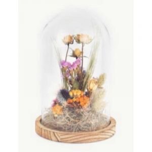 Bell jar glass with dried flowers bouquet medium (14 x 21 cm)