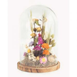 Bell jar glass with dried flowers bouquet large (17 x 24 cm)