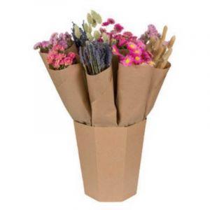 Bouquet de fleurs séchées dans les tons roses livré dans un seau