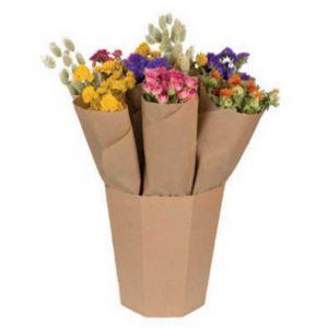 Bouquet de fleurs séchées multicolores, livré dans un seau