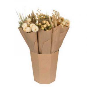 Bouquet de fleurs séchées dans les tons neutres, livré dans un seau