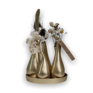 Plantophile design vase with dried flowers gold/white