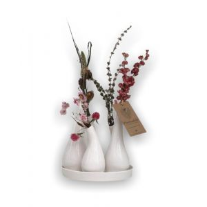 Plantophile design vase with dried flowers white/pink
