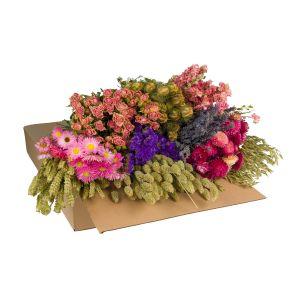 DIY bouquet fleurs sèchées dans un carton - pink