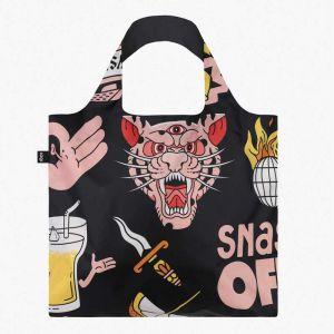 Sac RECYCLE Avec Pochette Zip SNASK Tiger Snake Beer Black (Noir)
