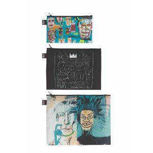 Lot 3 zip pockets Jean-Michel Basquiat - Skull, Crown, Warhol - recyclé