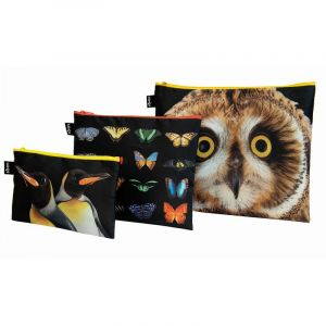 Lot de 3 Zip pockets Hibou, papillons, manchots