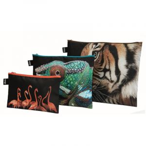 Lot de 3Zip pockets Tigre, Caméléon, Flamants Roses