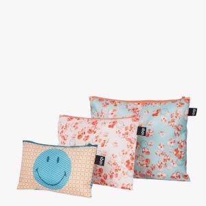 Lot 3 Zip Pockets SMILEY - Blossom & Geometric