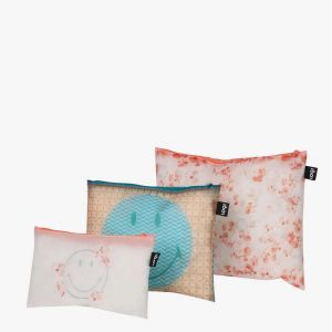 Lot 3 Zip Pockets SMILEY - TRANSPARENT Milky Blossom